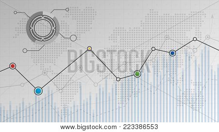 Abstract infographic financial chart with uptrend line graphs, dotted world map and other elements for your design