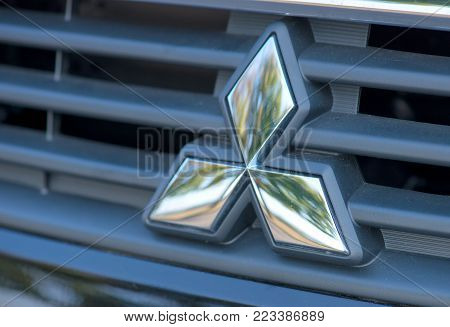 Romania-september 2 2017 Mitsubishi Logo On September 2 2017 In Romania, Logo Of A Mitsubishi Car Di
