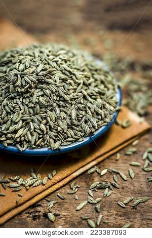 Close Up Of Traditional Mouth Freshener's Essential Herb Variyali,fennel Or Foeniculum Vulgare In A
