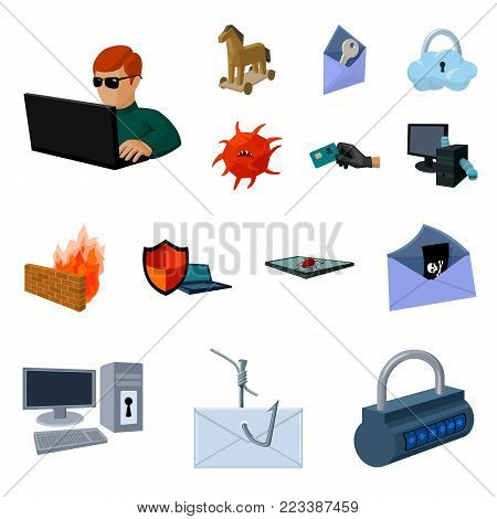 Hacker and hacking cartoon icons in set collection for design. Hacker and equipment vector symbol stock  illustration.