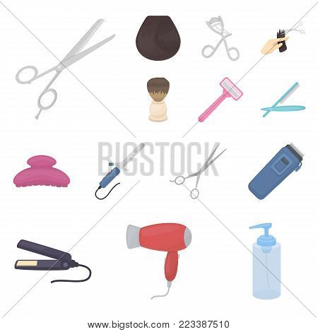 Hairdresser and tools cartoon icons in set collection for design.Profession hairdresser vector symbol stock  illustration.