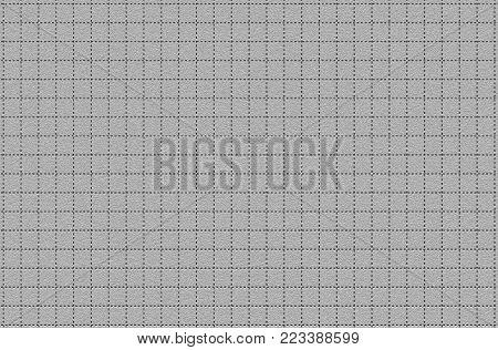 Gray dotted lines square grid surface with embossing texture background. Vintage abstract wall.