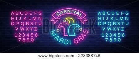 Mardi Gras vector symbol with holiday greetings, festive card. Fat Tuesday, festive illustration in neon style, luminous banner, neon sign. Design a template for a carnival. Editing text neon sign.