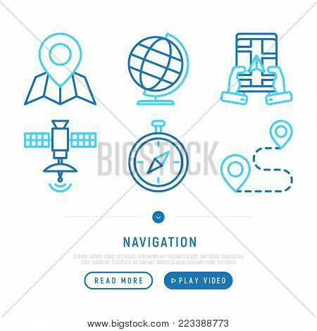 Navigation and direction thin line icons set: pointer, compass, navigator on tablet, store locator, satellite. Modern vector illustration. web page template.