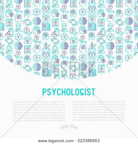 Psychologist concept with thin line icons: psychiatrist, disease history, armchair, pendulum, antidepressants, psychological support. Vector illustration for banner, web page, print media.