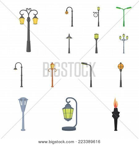 Lamp post cartoon icons in set collection for design. Lantern and lighting vector symbol stock  illustration.