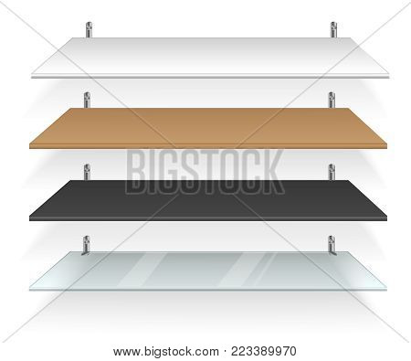 Bookshelves vector. Empty white shelf for book, CD, cup and other object. Shelves made of wood.