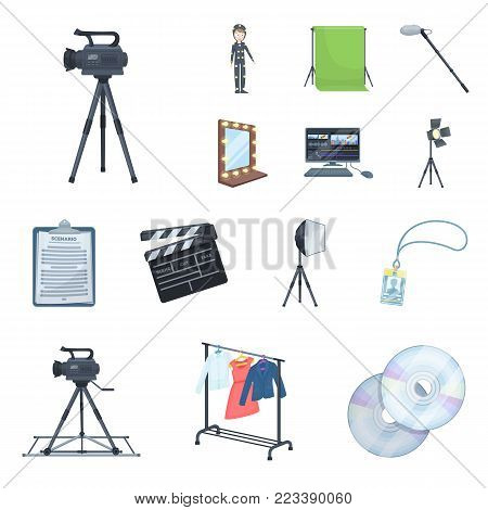Making a movie cartoon icons in set collection for design. Attributes and Equipment vector symbol stock  illustration.