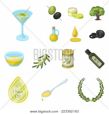 Olive, food cartoon icons in set collection for design. Olive oil, seasoning vector symbol stock  illustration.