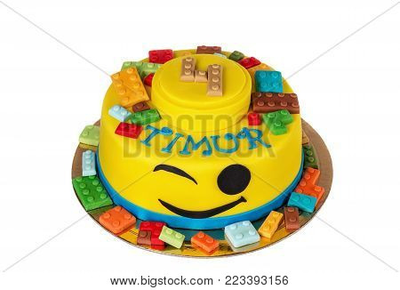 Cute cake of lego items. For a boy for 4 years. poster