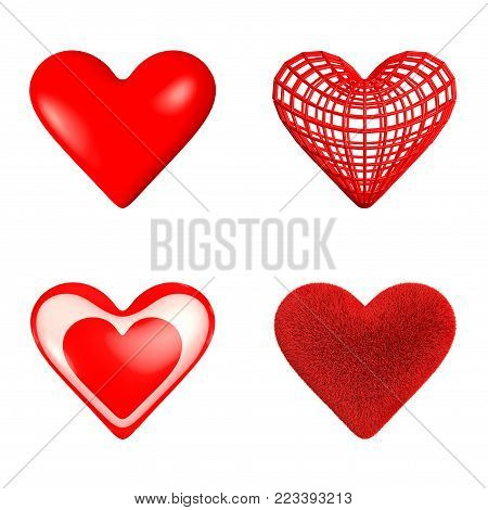 Four hearts: a glossy heart, a wireframe heart, a glass heart with a small heart inside, a furry heart.