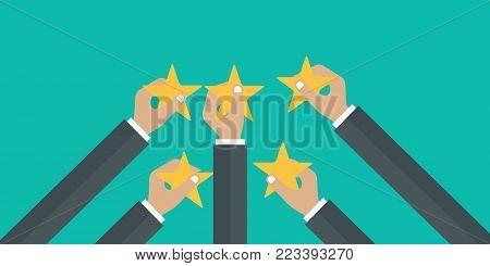 Hands holding rating star. Feedback recognition flat vector illustration
