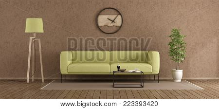 Green and brown modern living room withstucco wall - 3d rendering