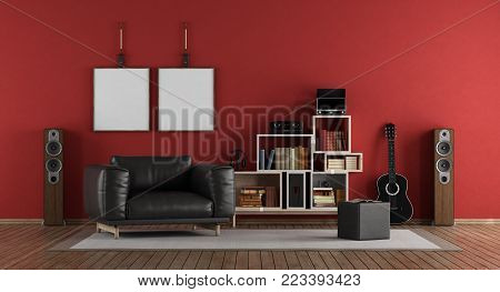 Red music room with black armchair - 3d rendering