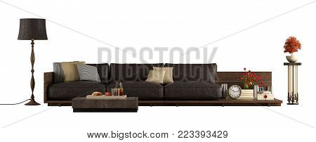 Sofa with leather cushions, floor lamp and pedestal isolated on white background - 3d rendering