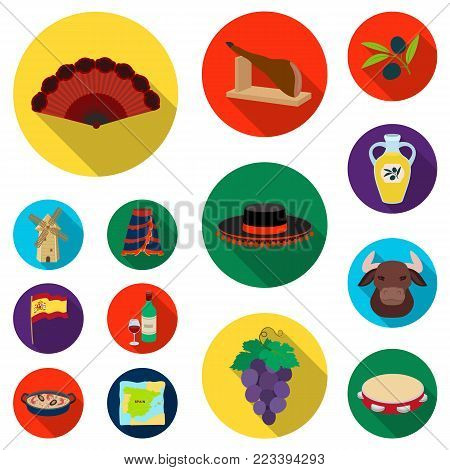 Spain country flat icons in set collection for design.Travel and attractions vector symbol stock  illustration.