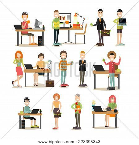 Creative team people vector icon set. Creative director and his team programmer, creator, website developer, graphic designer, system administrator, idea man. Flat style design.