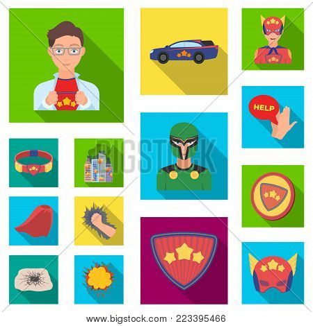 A fantastic superhero flat icons in set collection for design. Superhero's equipment vector symbol stock  illustration.