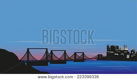 Evening city, bridge and sunset over the strait. Vector illustration.