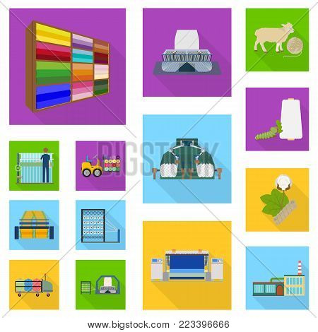 Textile industry flat icons in set collection for design.Textile equipment and fabrics vector symbol stock  illustration.