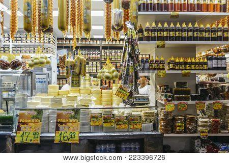Belo Horizonte, Brazil - Dec 23, 2017: Mercardo Central is a lively indoor market featuring food, crafts souvenir vendors, plus informal bars restaurants