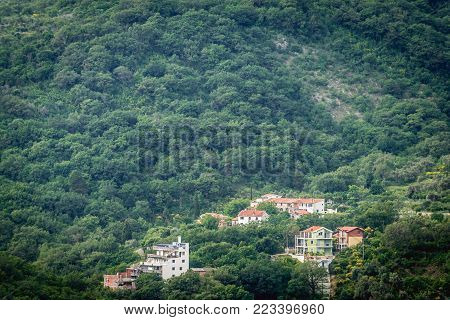 Residential buildings near Petrovac na Moru town in Montenegro