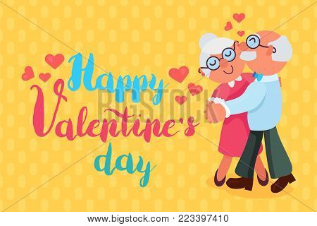 Happy Valentines Day Greeting Banner with dancing and smiling grandfather and grandmother. Love Forever. Vector