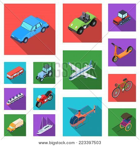 Different types of transport flat icons in set collection for design. Car and ship isometric vector symbol stock  illustration.