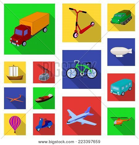 Different types of transport flat icons in set collection for design. Car and ship vector symbol stock  illustration.