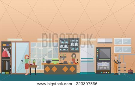 Vector illustration of pipe fitter or plumber fixing leaking water pipes with pipe wrench, woman with broken pipe calling to emergency service. Plumbing service concept flat style design elements.