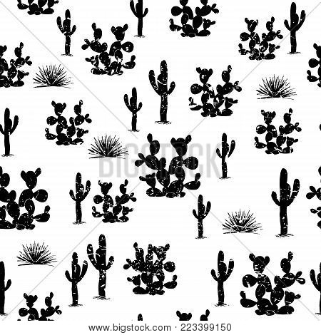 Hand drawn seamless pattern with ccati. Grange saguaro, agaves, and opuntia cactuses on white background. Stilish design for textile, wallpapers, cards. Vector