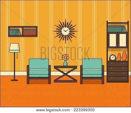 Room in flat design. Retro living room interior 60s in line art. Vector graphics. Linear illustration. Thin line vintage home space with furniture. House equipment 70s. Background 50s.