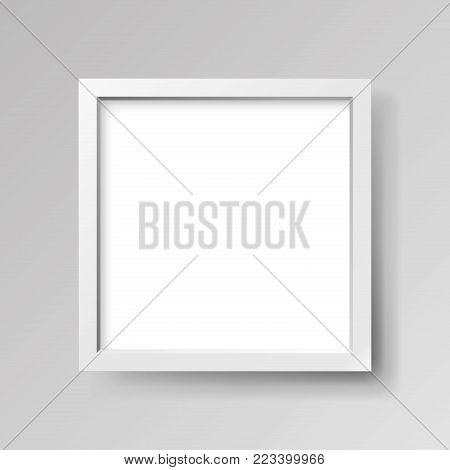 Realistic empty white frame on gray background, border for your creative project, mock-up sample, vector design object
