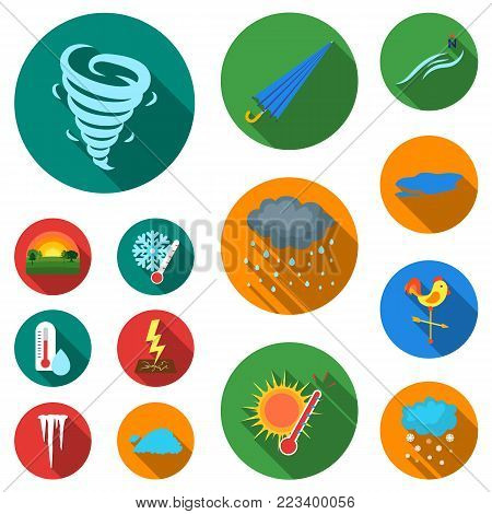 Different weather flat icons in set collection for design.Signs and characteristics of the weather vector symbol stock  illustration.