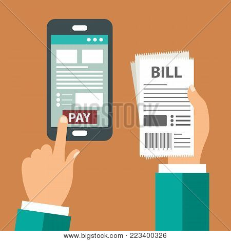 Mobile payment concept. Pay bills on line. Using a mobile phone to bank and shop on line. Flat vector illustration