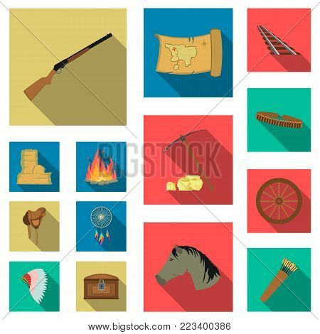 Attributes of the wild west flat icons in set collection for design.Texas and America vector symbol stock  illustration.