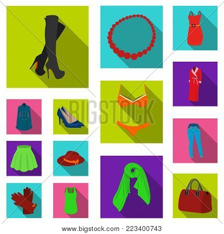 Women's Clothing flat icons in set collection for design.Clothing Varieties and Accessories vector symbol stock  illustration.