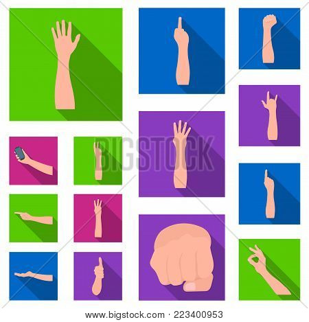 Gestures and their meaning flat icons in set collection for design.Emotional part of communication vector symbol stock  illustration.