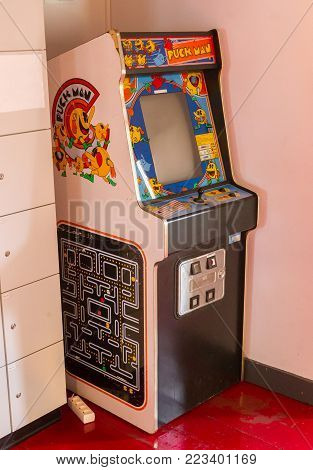 Roden, The Netherlands, January 11, 2018 - Vintage Puck Man Gaming Machine, Popular In The 80S And 9