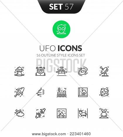 Outline black icons set in thin modern design style, flat line stroke vector symbols - UFO collection