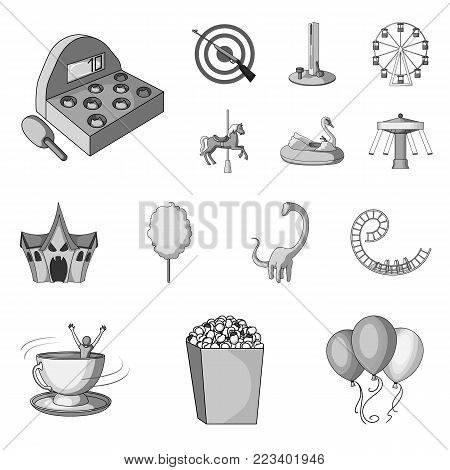 Amusement park monochrome icons in set collection for design. Equipment and attractions vector symbol stock  illustration.