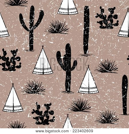 Indian tribal background. Simple flat wigwam, cactus, and grass. Seamless pattern landscape. Minimalist design. Cartoon illustration, vector. Vintage black, brown and white palette