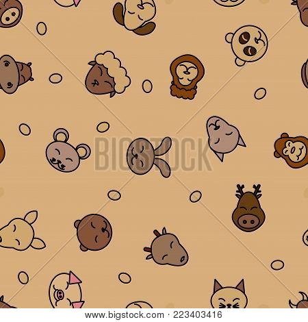 Wild animals seamless pattern background. Textile for baby pet. Vector nature. Kid sleeping design