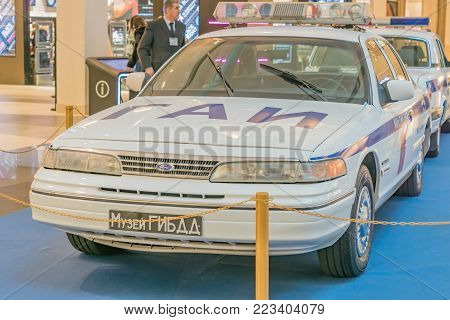 Moscow, Russia - November 23, 2017: Soviet Union and Russian police car Ford Crown Victoria. Retro car exibition in Metropolis shopping mall