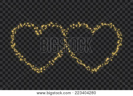 Two hearts silhouette on transparent background. Golden stars stream in two hearts symbol form. Valentines Day background design.