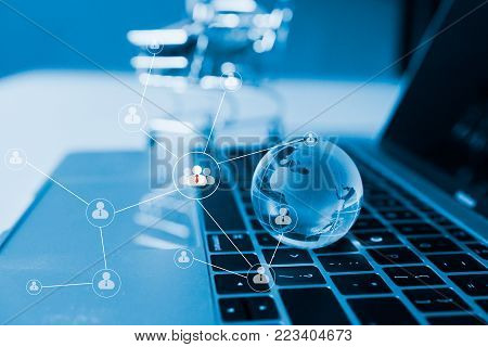 Business Idea Concept : World Wide Currency Trading Trend Concept, Clear Crystal Globe With World Ma