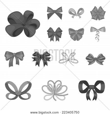 Multicolored bows monochrome icons in set collection for design.Bow for decoration vector symbol stock  illustration.