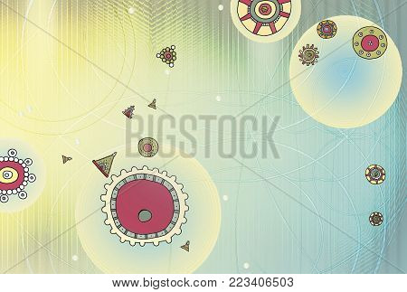 Abstract background with elements of Maya ornament. Technology of the network and the sphere of geometry. Glowing spheres, curved lines and dots. Futuristic technology, metallized look, digital image.