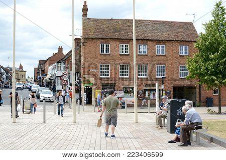 STRATFORD UPON AVON, UK - JULY 7, 2017: A busy touristic street in Stratford Upon Avon, Warwickshire, England, UK