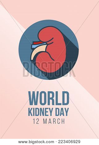 World Kidney day - 12 march with Kidney sign in circle on pink skin  background